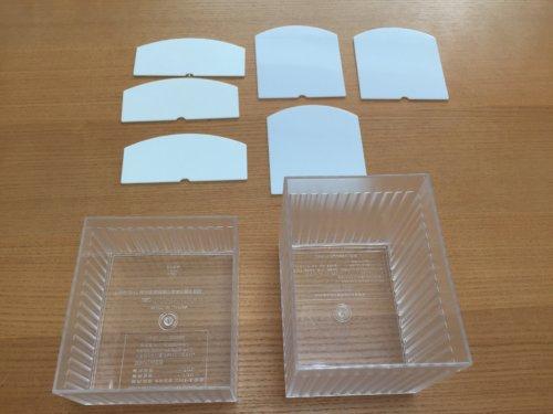 無印 重なる竹材 長方形ボックス ハーフ 中 メイクボックス アレンジ 収納 ダイソー ウェーブケース 仕切付き