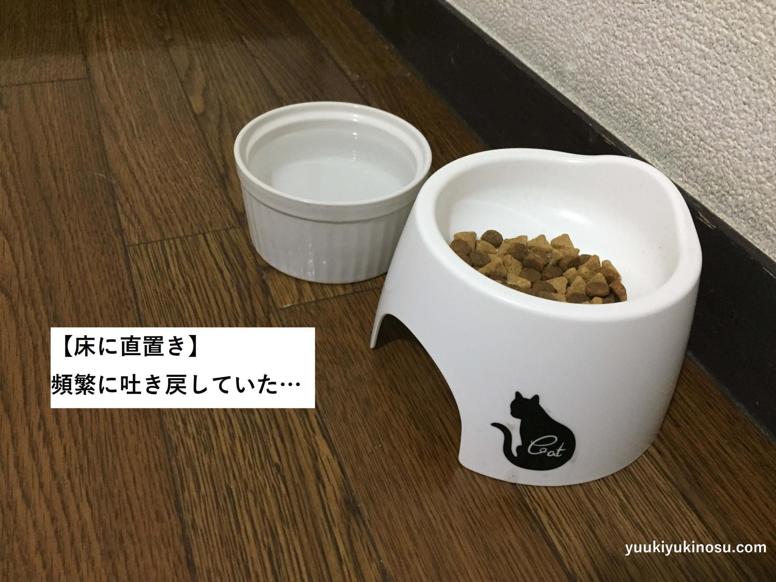 猫 吐き戻し 対策 防止 軽減 皿 食器 高さ 毛玉 逆流 100均 20cm